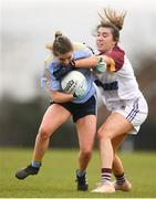 9 March 2019; Martha Byrne of UCD in action against Joanne Cregg of UL during the Gourmet Food Parlour O'Connor Cup Final between University of Limerick and University College Dublin at DIT Grangegorman, in Grangegorman, Dublin. Photo by Eóin Noonan/Sportsfile
