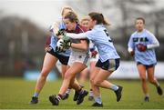 9 March 2019; Rebecca Dale of UL in action against Sara Gormally, left, and Niamh Carr of UCD during the Gourmet Food Parlour O'Connor Cup Final between University of Limerick and University College Dublin at DIT Grangegorman, in Grangegorman, Dublin. Photo by Eóin Noonan/Sportsfile