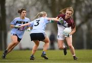 9 March 2019; Shauna Howley of UL in action against Sarah Gormally of UCD during the Gourmet Food Parlour O'Connor Cup Final between University of Limerick and University College Dublin at DIT Grangegorman, in Grangegorman, Dublin. Photo by Eóin Noonan/Sportsfile