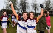 9 March 2019; Joanne Cregg, left, and Elaine Fitzpatrick of UL celebrate after the Gourmet Food Parlour O'Connor Cup Final between University of Limerick and University College Dublin at DIT Grangegorman, in Grangegorman, Dublin. Photo by Eóin Noonan/Sportsfile