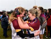 9 March 2019; Louise Ward, left, and Laurie Ryan of UL celebrate following the Gourmet Food Parlour O'Connor Cup Final between University of Limerick and University College Dublin at DIT Grangegorman, in Grangegorman, Dublin. Photo by Eóin Noonan/Sportsfile