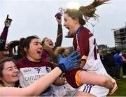 9 March 2019; Eimear Scally of UL celebrates with team-mates after the Gourmet Food Parlour O'Connor Cup Final between University of Limerick and University College Dublin at DIT Grangegorman, in Grangegorman, Dublin. Photo by Eóin Noonan/Sportsfile