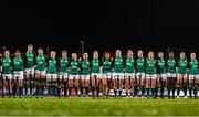 9 March 2019; The Ireland team during the playing of the national anthem ahead of the Women's Six Nations Rugby Championship match between Ireland and France at Energia Park in Donnybrook, Dublin. Photo by Ramsey Cardy/Sportsfile