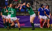 9 March 2019; Alison Miller of Ireland celebrates her side's first try with Enya Breen, left, during the Women's Six Nations Rugby Championship match between Ireland and France at Energia Park in Donnybrook, Dublin. Photo by Ramsey Cardy/Sportsfile
