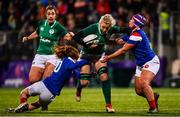 9 March 2019; Claire Molloy of Ireland is tackled by Pauline Bourdon, left, and Caroline Thomas of France during the Women's Six Nations Rugby Championship match between Ireland and France at Energia Park in Donnybrook, Dublin. Photo by Ramsey Cardy/Sportsfile