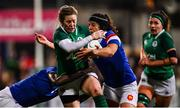 9 March 2019; Lauren Delany of Ireland is tackled by Yolaine Yengo, left, and Caroline Boujard of France during the Women's Six Nations Rugby Championship match between Ireland and France at Energia Park in Donnybrook, Dublin. Photo by Ramsey Cardy/Sportsfile