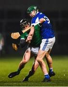 9 March 2019; Conor Boylan of Limerick in action against Sean Downey of Laois during the Allianz Hurling League Division 1 Quarter-Final match between Laois and Limerick at O'Moore Park in Portlaoise, Laois. Photo by Stephen McCarthy/Sportsfile