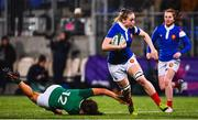 9 March 2019; Romane Menager of France in action against Sene Naoupu of Ireland during the Women's Six Nations Rugby Championship match between Ireland and France at Energia Park in Donnybrook, Dublin. Photo by Ramsey Cardy/Sportsfile