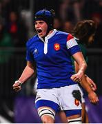 9 March 2019; Audrey Forlani of France celebrates after scoring her side's sixth try during the Women's Six Nations Rugby Championship match between Ireland and France at Energia Park in Donnybrook, Dublin. Photo by Ramsey Cardy/Sportsfile