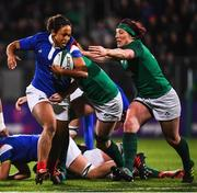 9 March 2019; Mailys Traore of France is tackled by Lindsay Peat of Ireland during the Women's Six Nations Rugby Championship match between Ireland and France at Energia Park in Donnybrook, Dublin. Photo by Ramsey Cardy/Sportsfile