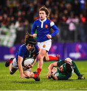 9 March 2019; Celine Ferer of France in action against Lindsay Peat of Ireland during the Women's Six Nations Rugby Championship match between Ireland and France at Energia Park in Donnybrook, Dublin. Photo by Ramsey Cardy/Sportsfile