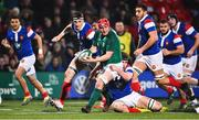8 March 2019; John Hodnett of Ireland is tackled by Maxence Lemardelet of France during the U20 Six Nations Rugby Championship match between Ireland and France at Irish Independent Park in Cork. Photo by Matt Browne/Sportsfile