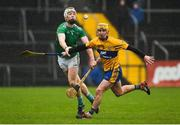 3 March 2019; Cian Lynch of Limerick in action against Colm Galvin of Clare during the Allianz Hurling League Division 1A Round 5 match between Clare and Limerick at Cusack Park in Ennis, Co. Clare. Photo by Diarmuid Greene/Sportsfile