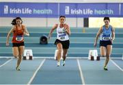 10 March 2019; Jane Byrne of Sligo A.C., centre, Sinéad Doogan of Rosses A.C., left, andJoanne  McCauley of Newry A.C., right, competing in the 60m during the Irish Life Health Masters Indoors Championships at AIT in Athlone, Co Westmeath. Photo by Harry Murphy/Sportsfile