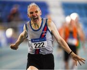 10 March 2019; Peadar McGing of Dundrum South Dublin A.C. celebrates winning the 400m  during the Irish Life Health Masters Indoors Championships at AIT in Athlone, Co Westmeath. Photo by Harry Murphy/Sportsfile