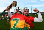 10 March 2019; Chris Nolan of Carlow celebrates with team-mate Kevin McDonald following the Allianz Hurling League Division 1B Relegation Play-off match between Offaly and Carlow at Bord na Móna O'Connor Park in Tullamore, Offaly. Photo by Eóin Noonan/Sportsfile