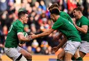 10 March 2019; Jonathan Sexton of Ireland celebrates with team-mates Conor Murray, Garry Ringrose, and Jordan Larmour after scoring his side's second try during the Guinness Six Nations Rugby Championship match between Ireland and France at the Aviva Stadium in Dublin. Photo by Brendan Moran/Sportsfile
