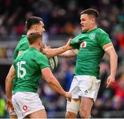 10 March 2019; Jonathan Sexton of Ireland celebrates with team-mates Jordan Larmour, 15, and Conor Murray after scoring his side's second tryduring the Guinness Six Nations Rugby Championship match between Ireland and France at the Aviva Stadium in Dublin. Photo by Ramsey Cardy/Sportsfile