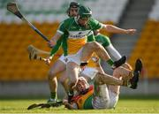 10 March 2019; Séamus Murphy of Carlow in action against Paddy Rigney of Offaly during the Allianz Hurling League Division 1B Relegation Play-off match between Offaly and Carlow at Bord na Móna O'Connor Park in Tullamore, Offaly. Photo by Eóin Noonan/Sportsfile