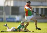 10 March 2019; John Micheal Nolan of Carlow in action against Damien Egan of Offaly during the Allianz Hurling League Division 1B Relegation Play-off match between Offaly and Carlow at Bord na Móna O'Connor Park in Tullamore, Offaly. Photo by Eóin Noonan/Sportsfile