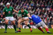 10 March 2019; Jordan Larmour of Ireland, supported by team-mate Rory Best, is tackled by Guilhem Guirado of France during the Guinness Six Nations Rugby Championship match between Ireland and France at the Aviva Stadium in Dublin. Photo by Brendan Moran/Sportsfile