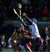 10 March 2019; Wexford goalkeeper Mark Fanning catches the sliothar under pressure from Richie Hogan of Kilkenny and his own corner-back Damien Reck during the Allianz Hurling League Division 1A Round 5 match between Wexford and Kilkenny at Innovate Wexford Park in Wexford. Photo by Ray McManus/Sportsfile