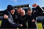 10 March 2019; Westmeath manager Joe Quaid, second from right, celebrates with members of his backroom team including Brendan Murtagh, left, Seán Ó Briain, second from left, and Willie Banks, right,  following the Allianz Hurling League Division 2A Final match between Westmeath and Kerry at Cusack Park in Ennis, Clare. Photo by Sam Barnes/Sportsfile