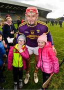 10 March 2019; Wexford joint-captain Lee Chin with Wexford supporters Brooklyn, 7 years, left and Lexie Kennedy, 9 years, from Enniscorthy, after the Allianz Hurling League Division 1A Round 5 match between Wexford and Kilkenny at Innovate Wexford Park in Wexford. Photo by Ray McManus/Sportsfile