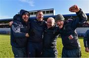 10 March 2019; Westmeath manager Joe Quaid, second from right, celebrates with members of his backroom team including Seán Ó Briain, second from left, and Willie Banks, right,  following the Allianz Hurling League Division 2A Final match between Westmeath and Kerry at Cusack Park in Ennis, Clare. Photo by Sam Barnes/Sportsfile