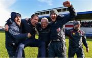 10 March 2019; Westmeath manager Joe Quaid, centre, celebrates with members of his backroom team including Seán Ó Briain, second from left, and Willie Banks, second from right,  following the Allianz Hurling League Division 2A Final match between Westmeath and Kerry at Cusack Park in Ennis, Clare. Photo by Sam Barnes/Sportsfile