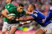 10 March 2019; Jordan Larmour of Ireland is tackled by Gaël Fickou of France during the Guinness Six Nations Rugby Championship match between Ireland and France at the Aviva Stadium in Dublin. Photo by Brendan Moran/Sportsfile