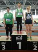 10 March 2019; Marion Feehan of Ferbane A.C., first, Shotput Mairead Welby of Corrib A.C., second, and Mary Breen of St. Joseph's A.C., third, on the podium following the Shotput  during the Irish Life Health Masters Indoors Championships at AIT in Athlone, Co Westmeath. Photo by Harry Murphy/Sportsfile