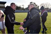10 March 2019; Kerry manager Fintan O'Connor, left, Westmeath manager Joe Quaid shake hands following the Allianz Hurling League Division 2A Final match between Westmeath and Kerry at Cusack Park in Ennis, Clare. Photo by Sam Barnes/Sportsfile