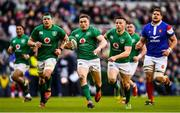 10 March 2019; Jordan Larmour of Ireland makes a break during the Guinness Six Nations Rugby Championship match between Ireland and France at the Aviva Stadium in Dublin. Photo by Ramsey Cardy/Sportsfile