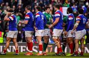 10 March 2019; Jacob Stockdale of Ireland shakes hands with France players after the Guinness Six Nations Rugby Championship match between Ireland and France at the Aviva Stadium in Dublin. Photo by Brendan Moran/Sportsfile