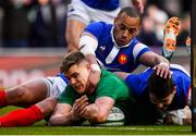 10 March 2019; Garry Ringrose of Ireland loses control of the ball as he slides over the tryline during the Guinness Six Nations Rugby Championship match between Ireland and France at the Aviva Stadium in Dublin. Photo by Brendan Moran/Sportsfile