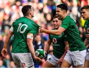10 March 2019; Ireland players Conor Murray, Jordan Larmour and Garry Ringrose celebrate with team-mate Jonathan Sexton after he scored their side's second try during the Guinness Six Nations Rugby Championship match between Ireland and France at the Aviva Stadium in Dublin. Photo by Brendan Moran/Sportsfile