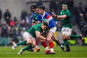 10 March 2019; Damian Penaud of France is tackled by Garry Ringrose of Ireland during the Guinness Six Nations Rugby Championship match between Ireland and France at the Aviva Stadium in Dublin. Photo by Brendan Moran/Sportsfile