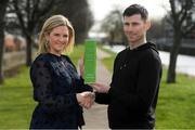 11 March 2019; Dinny Corcoran of Bohemians is presented with his SSE Airtricity/SWAI Player of the Month for February by Leanne Sheill from SSE Airtricity at the Royal Canal in Phibsborough, Dublin. Photo by Piaras Ó Mídheach/Sportsfile