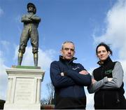 11 March 2019; Jockeys Rachael Blackmore, right, and Ruby Walsh in attendance as Irish bookmaker Paddy Power unveil their 25-foot-tall 'Fearless Jockey' statue, celebrating the bravery of female jockeys riding at the Cheltenham Festival, and based on Tipperary-born leading rider Rachael Blackmore who hopes to join the honour roll of winning jockeys this week at Cheltenham in England. Photo by David Fitzgerald/Sportsfile