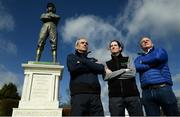11 March 2019; Jockeys Rachael Blackmore, centre, and Ruby Walsh, left, with Paddy Power, owner of Paddy Power in attendance as Irish bookmaker Paddy Power unveil their 25-foot-tall 'Fearless Jockey' statue, celebrating the bravery of female jockeys riding at the Cheltenham Festival, and based on Tipperary-born leading rider Rachael Blackmore who hopes to join the honour roll of winning jockeys this week at Cheltenham in England. Photo by David Fitzgerald/Sportsfile