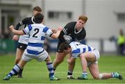 11 March 2019; Harry Rigney of Newbridge College is tackled by Cian O'Brien of Blackrock College during the Bank of Ireland Leinster Rugby Schools Junior Cup semi-final match between Newbridge College and Blackrock College at Energia Park in Donnybrook, Dublin. Photo by Harry Murphy/Sportsfile