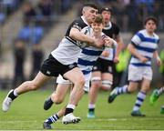 11 March 2019; Harry Farrell of Newbridge College is tackled by Will Fitzgerald of Blackrock College during the Bank of Ireland Leinster Rugby Schools Junior Cup semi-final match between Newbridge College and Blackrock College at Energia Park in Donnybrook, Dublin. Photo by Harry Murphy/Sportsfile