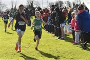 9 March 2019; Harry Golding of Wesley College, Dublin, left, and Joer Kelly St Malachy's, Belfast, Co Antrim, in the Minor Boys event during the Irish Life Health All Ireland Schools Cross Country at Clongowes Wood College in Clane, Co Kildare. Photo by Piaras Ó Mídheach/Sportsfile