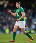 10 March 2019; Jordan Larmour of Ireland during the Guinness Six Nations Rugby Championship match between Ireland and France at the Aviva Stadium in Dublin. Photo by Ramsey Cardy/Sportsfile