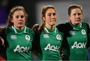 9 March 2019; Enya Breen, left, Eimear Considine, centre, and Lauren Delany of Ireland during the Women's Six Nations Rugby Championship match between Ireland and France at Energia Park in Donnybrook, Dublin. Photo by Ramsey Cardy/Sportsfile