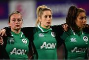 9 March 2019; Nicole Fowley, left, Alison Miller, centre, and Sene Naoupu of Ireland during the Women's Six Nations Rugby Championship match between Ireland and France at Energia Park in Donnybrook, Dublin. Photo by Ramsey Cardy/Sportsfile