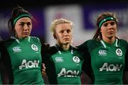 9 March 2019; Nichola Fryday, left, Claire Molloy, centre, and Claire McLaughlin of Ireland during the Women's Six Nations Rugby Championship match between Ireland and France at Energia Park in Donnybrook, Dublin. Photo by Ramsey Cardy/Sportsfile