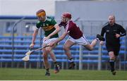 10 March 2019; Michael O'Leary of Kerry in action against Darragh Egerton of Westmeath during the Allianz Hurling League Division 2A Final match between Westmeath and Kerry at Cusack Park in Ennis, Clare. Photo by Sam Barnes/Sportsfile