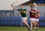 10 March 2019; Aonghus Clarke of Westmeath in action against Michael O'Leary of Kerry during the Allianz Hurling League Division 2A Final match between Westmeath and Kerry at Cusack Park in Ennis, Clare. Photo by Sam Barnes/Sportsfile